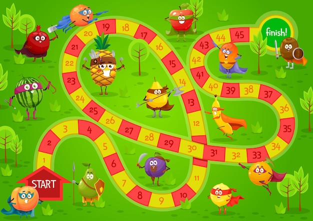 Kids board game template, step boardgame with block path, numbers, start, finish and cartoon fruit