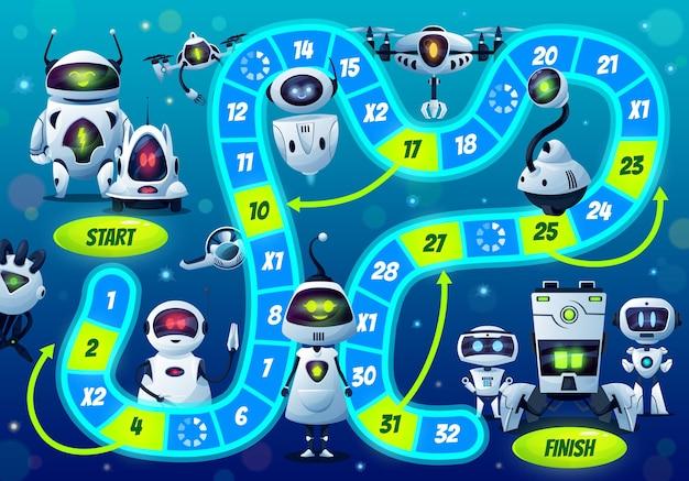 ロボットとドロイドとの子供のボードゲーム Premiumベクター