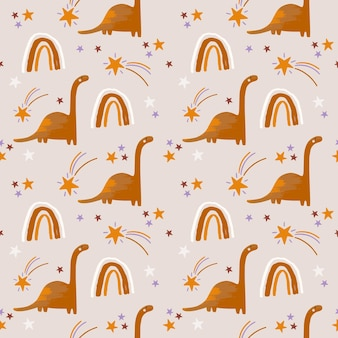 Kids boho seamless pattern with dino and rainbow