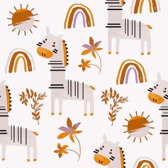 虹とシマウマと子供自由奔放に生きるシームレスなパターン