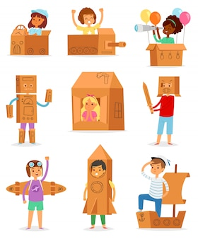 Kids in box  creative children character playing in boxed house and boy or girl in carton plane or paper ship illustration set of childish package creativity  on white background