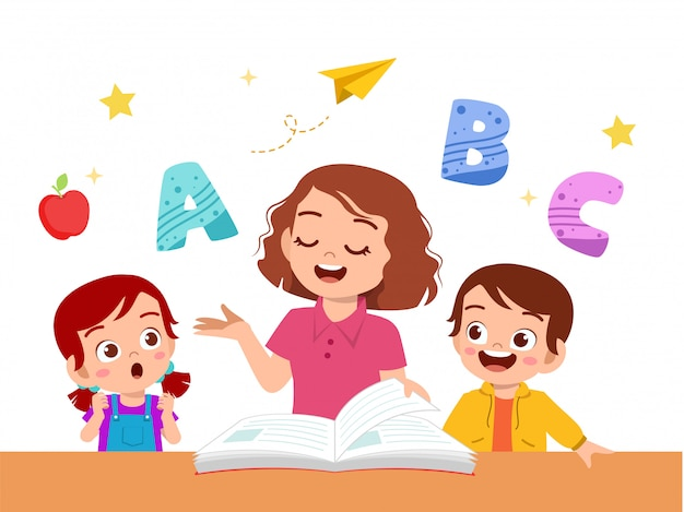 先生と子供の男の子と女の子の研究