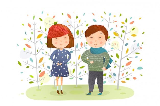 Детский мальчик девочка в осеннем лесу