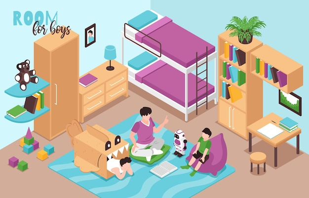 Kids boy room interior isometric view with bunk bed bookcase bookshelves toys robot cardboard shark