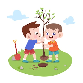Kids boys planting tree illustration