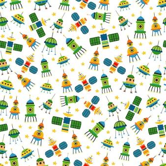 아이 밝은 만화 우주선 패턴입니다. 벡터