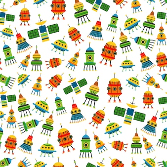 Kids bright cartoon spaceships pattern. a vector