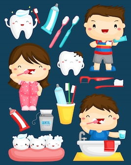 Kids brushing teeth vector set