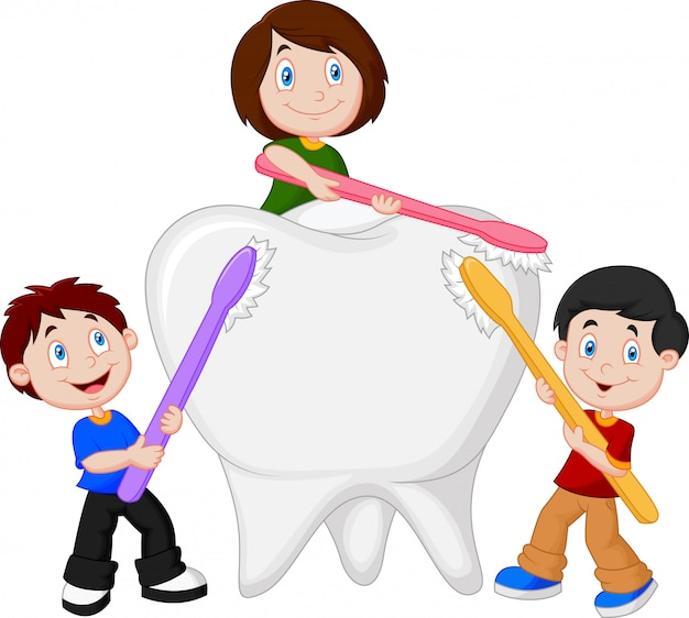 Kids brushing white tooth