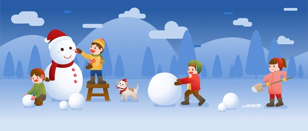 Дети лепят снеговика и играют в снегу, празднование рождества, зимы и нового года