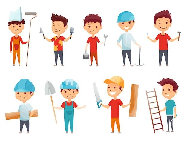 Дизайн иллюстрации детей строителей