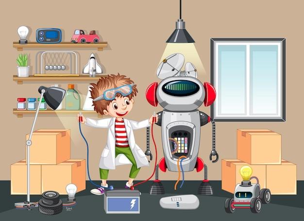 Дети вместе строят робота в сцене