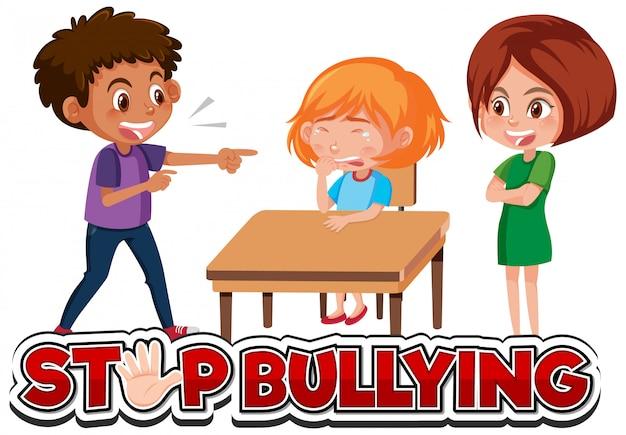 Kids bullying blonde girl