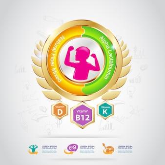 Kids calcium and vitamin - concept logo gold kids