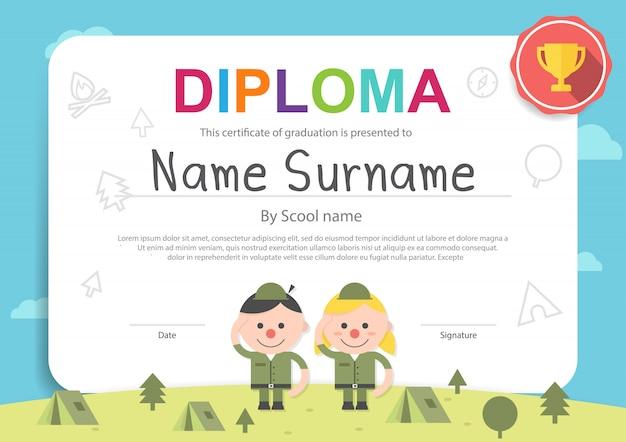 Kids camping certificate diploma template