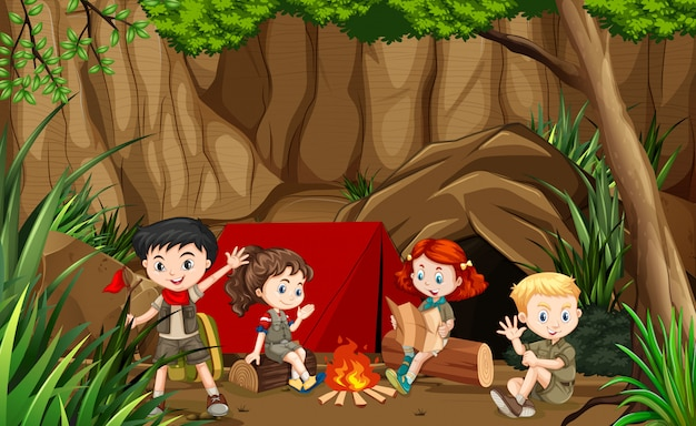 Kids camping outdoor scene