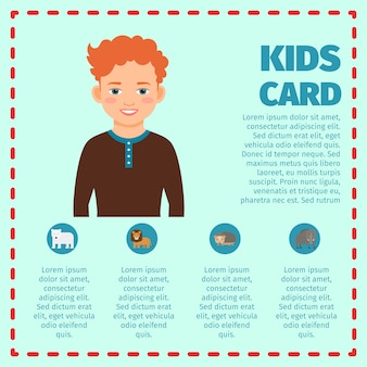 Kids card infographic with boy