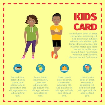 Kids card infographic with sweets