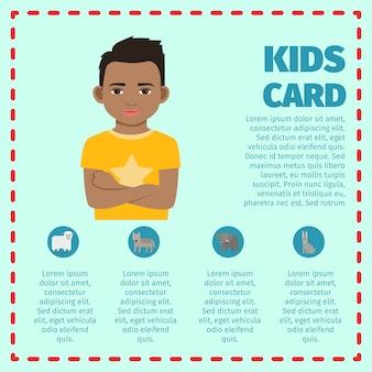Kids card with black kid