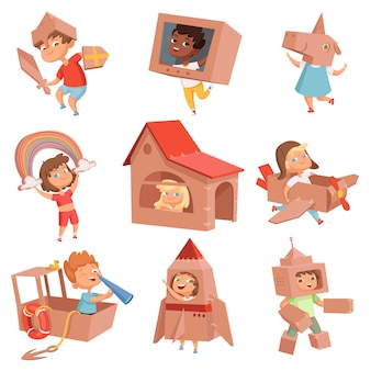 Kids cardboard costumes. children playing in active games with paper box making house car and airplane