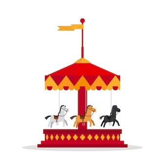 Kids carnival carousel in flat style.