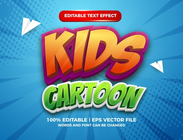 子供の漫画の3d編集可能なテキストスタイルの効果テンプレート