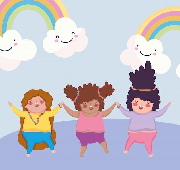 Детский мультфильм счастливые маленькие девочки радуги и облака иллюстрации