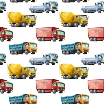 Kids cartoon style seamless pattern of colorful construction trucks on white background