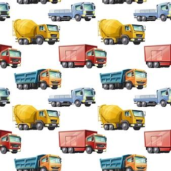 Kids cartoon style seamless pattern di colorati camion di costruzione su sfondo bianco