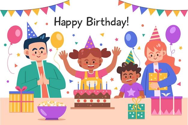 誕生日パーティーを祝って楽しんでいる子供たち