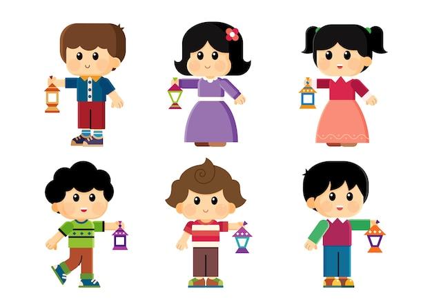 Kids celebrating ramadan and carrying lanterns Premium Vector