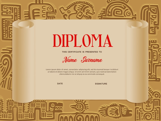 Kids certificate or diploma, education template