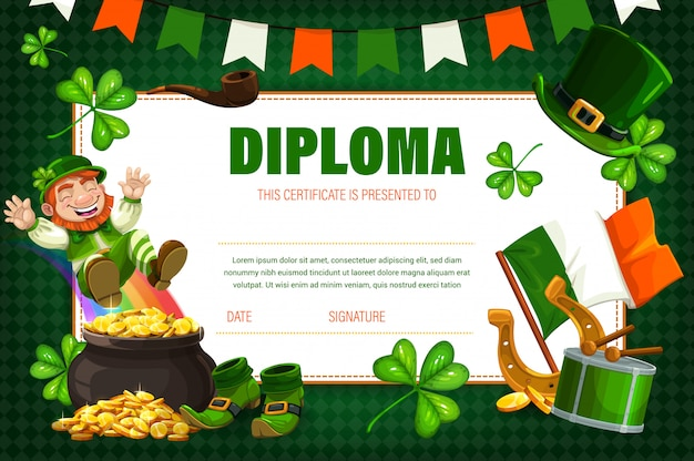 Kids certificate, diploma with irish leprechaun