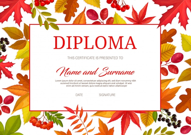 Kids certificate with autumn leaves and berries