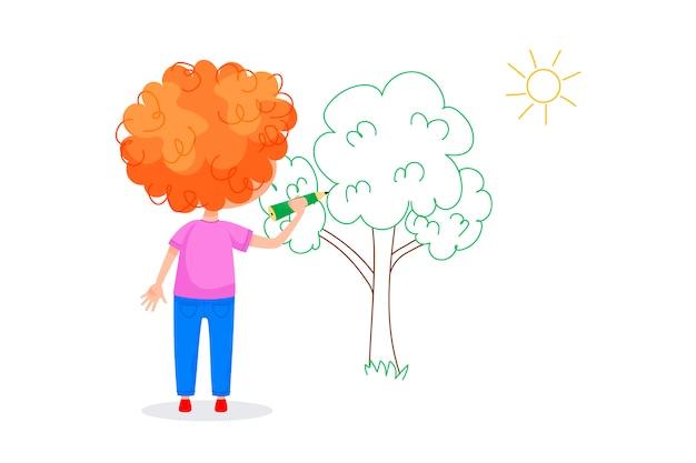 Детские персонажи рисуют на белых стенах. международный день детей. летние детские мероприятия. векторные иллюстрации