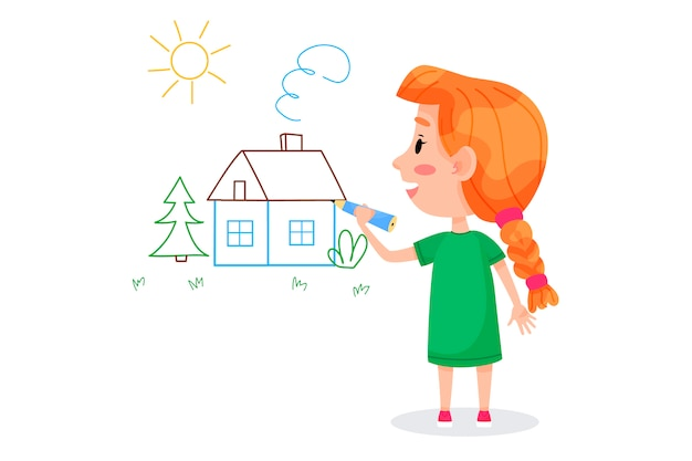 Kids characters are drawing on white walls. children international day. summer children activities. vector illustrations.