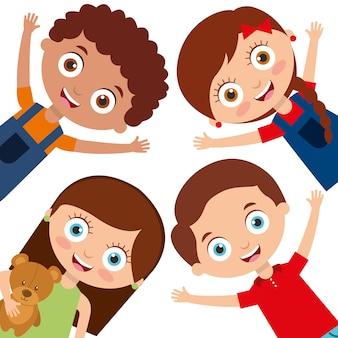 幸せな笑顔で子供のキャラクターの男の子と女の子がセット