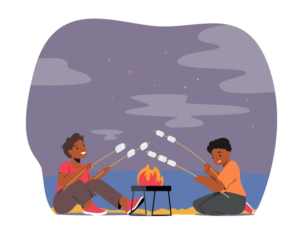 Kids characters roast marshmallow on fire. little boys friends in summer camp sitting at bonfire at night telling stories and eating sweets, night bbq, picnic. cartoon people vector illustration