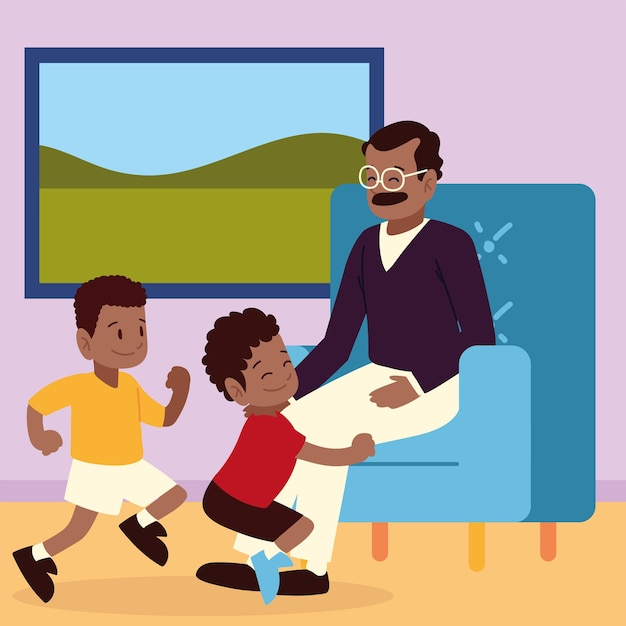 Kids cheerful with her dad cartoon