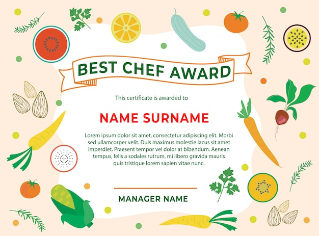 Kids chef certificate template
