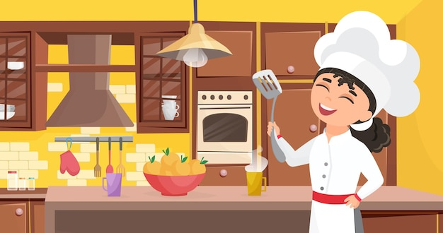 Kids chef cook food happy cute child in cooker apron cooking meal in kitchen interior.