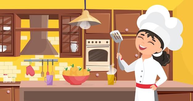 아이 요리사는 부엌 인테리어에서 식사를 요리 밥솥 앞치마에 음식 행복 귀여운 아이 요리.