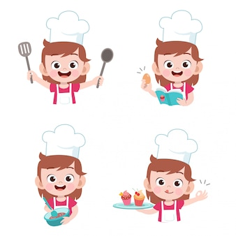 Kids chef cooking