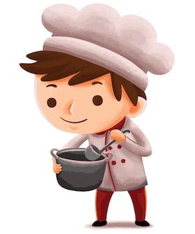 귀여운 캐릭터 스타일의 어린이 요리사