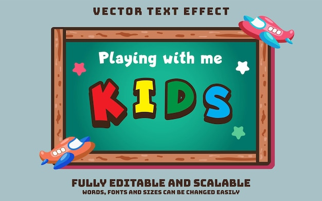 Kids child editable text effect with board