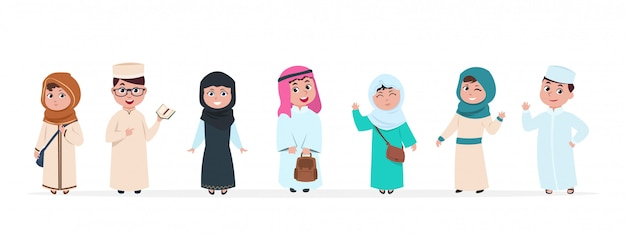 Kids.  children cartoon characters. school boy and girl in saudi traditional clothes  set