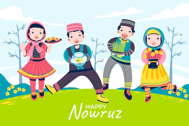 Kids, children gather and bring cakes and other ways to celebrate nowruz mean persian new year