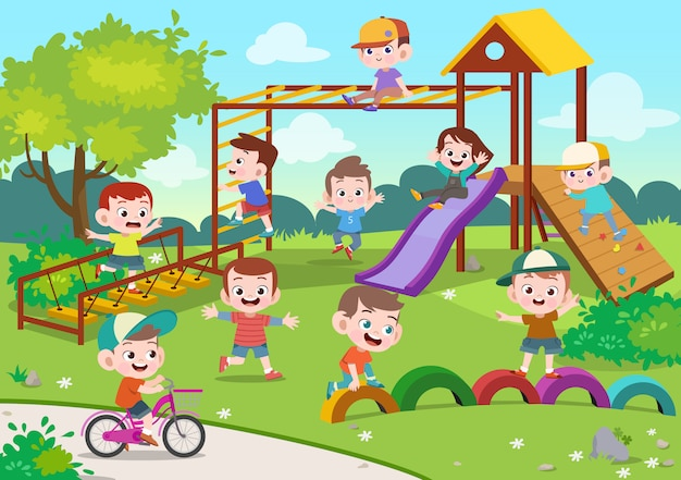 Kids children playing playground illustration