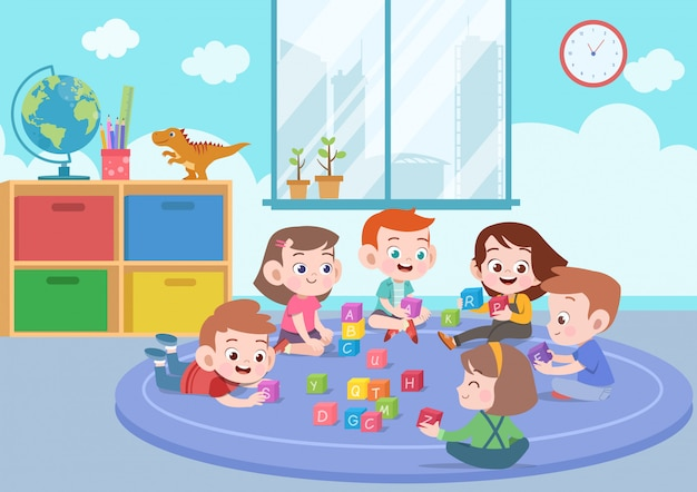 Kids children playing with blocks toys illustration