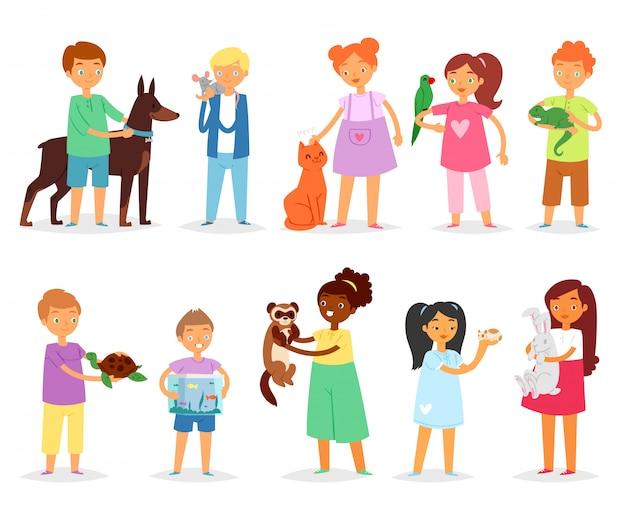 애완 동물 소녀와 소년 동물 캐릭터 고양이 강아지 또는 강아지 그림 흰색 배경에 거북이 또는 앵무새 사람 여자 또는 소년의 집합을 가지고 노는 아이들
